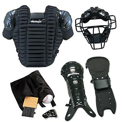 TOP Baseball Umpire Equipment Gear Complete Mask Chest Protector Leg Guard Brush