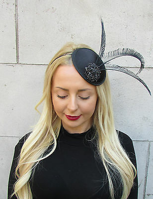 Black Statement Feather Fascinator Races Hat Headpiece Ascot Hair Headband 2302