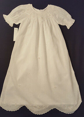 NEW Fantaisie White Smocked Embroidered Christening Gown 3 Months-Retails $89