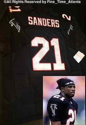 super popular 0488a 3816d NEW DEION SANDERS Atlanta Falcons / Braves 90's ERA M&N Black Men's Retro  Jersey