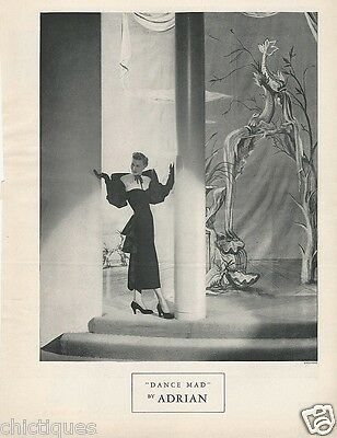 1948 ADRIAN Women's Clothing Fashion Designer DANCE MAD Dress Vintage Print Ad