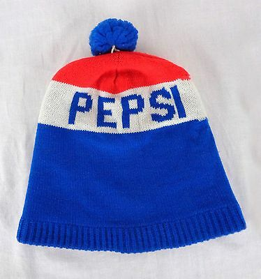 Vintage 1980s PEPSI COLA Knit Beanie Ski Snow Hat Cap Pom Pom Blue White Red