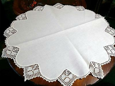 Antique Linen Doily Table Center Crocheted Filet Lace Shamrock 25""