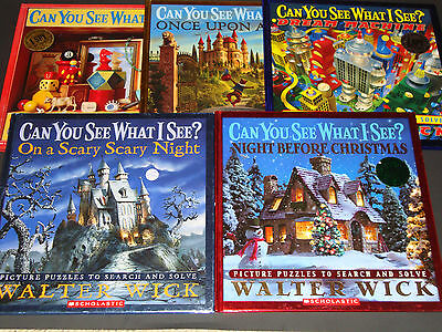 Lot 5 Can You See What I See Picture Riddle Books All  Hardcover Walter Wick EXC