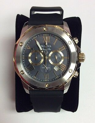 BULOVA Men's Marine Star Gold Accent Rubber Strap Chronograph WATCH 98B277