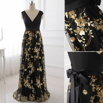 Plus Gold Embroidered Mother of Bride Dresses Women Formal Party Bridesmaid Gown