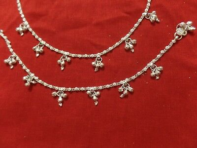 Tribal lot 2 boho anklet ankle bracelet silver bells Indian foot jewelry 10""