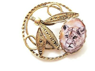 Dream Catcher Mountain Lion Cougar Puma Gold Plated Original Art Pin