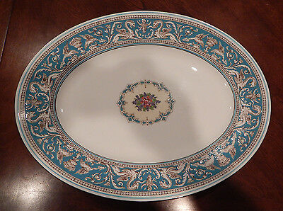 """Wedgwood """"florentine Turquoise"""" Pattern W2714 17"""" Oval Serving Platter England"""