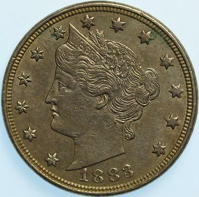 "1883 ""with Cents"" Liberty Nickel, Very Choice Au, Clean, Great Detail, Semi-Key!"