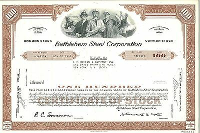 Bethlehem Steel Corporation   1968 Delaware old stock certificate share