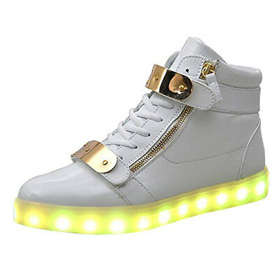 SAGUARO High Top LED Lace Up Unisex Sportswear Sneaker Luminous Shoes Casual