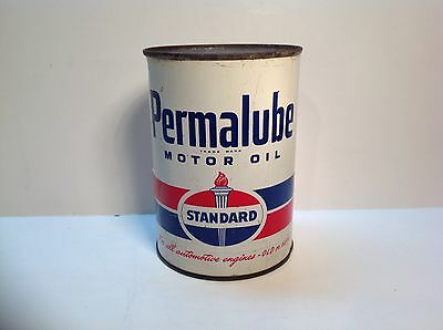 Vintage Standard Permalube Oil Quart FULL Metal Motor Can Original gas Auto sign