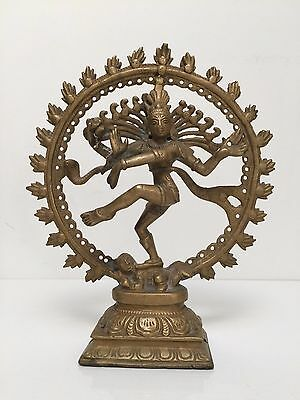 "Nataraja Hindu God Dancing Shiva Brass Metal Statue Sculpture - 9"" Inch"