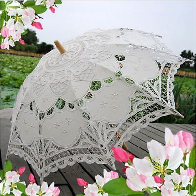 US Cotton Lace Sun Wedding Embroidery Parasol Umbrella Party Bridal Accessory