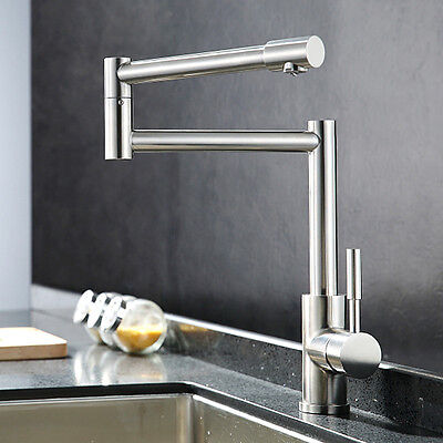 NEW Stainless steel Single Handle Kitchen Faucet Folding&360° Rotation Mixer Tap