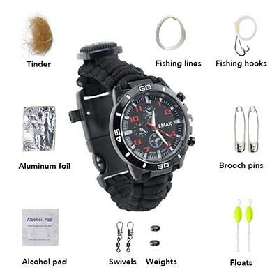 6 in 1 Survival Paracords Watch Bracelet With Flint Whistle For Hiking Outdoor