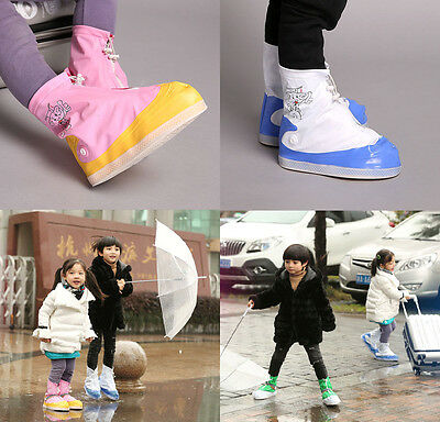 Kids Child Outdoor Waterproof Non-slip Shoes Cover Rain Boots Reusable Overshoes