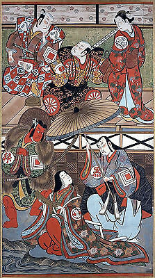 Scenes From A Play Japanese Repro Woodblock Picture Painting Print