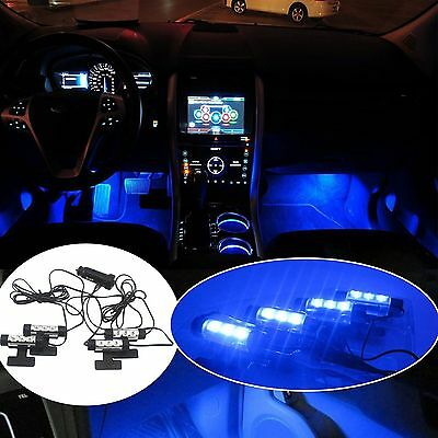 4x 3LED Car Charge Interior Accessories Floor Decorative Atmosphere Lamp Light #