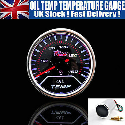 "2"" 52mm 12V LED AUTO CAR MOTOR DIGITAL OIL TEMP TEMPERATURE GAUGE Ship From UK"