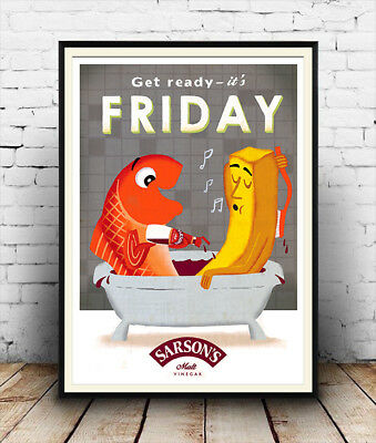 Get ready it's Friday, Vintage Vinegar advertising , Poster reproduction.