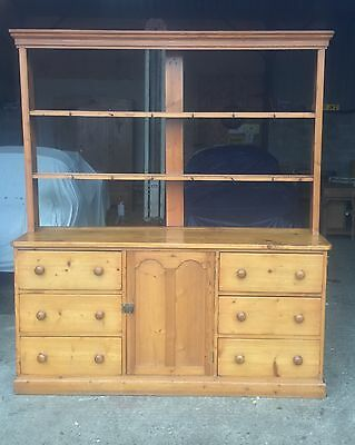 Antique Victorian  Farmhouse Pine Dresser With Open Rack
