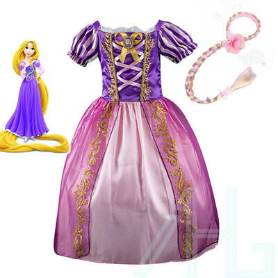 Girls Fairytale Princess Tangled Rapunzel Kids Fancy Dress Outfit UK Age 3/4/5/6