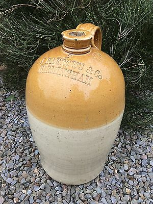 Vintage Large Price Bristol Stoneware Flagon for J Barrows & Co Birmingham