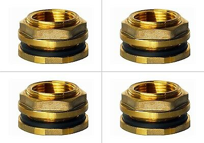 "4 F075LFLH Brass Bulkhead Tank Fittings 3/4""Female,Left Handed Nut"