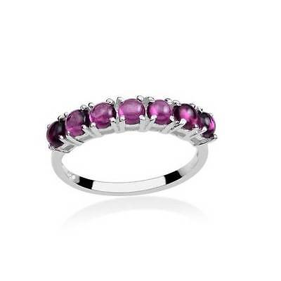 2.5ct Rhodolite Garnet 7 Stone Ring in 925 Sterling Silver - UK Size K