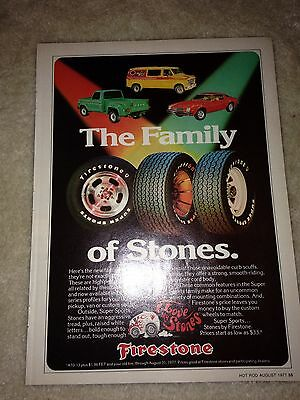 """Vintage Firestone Tire ad, """"The Family of Stones"""" 1977"""