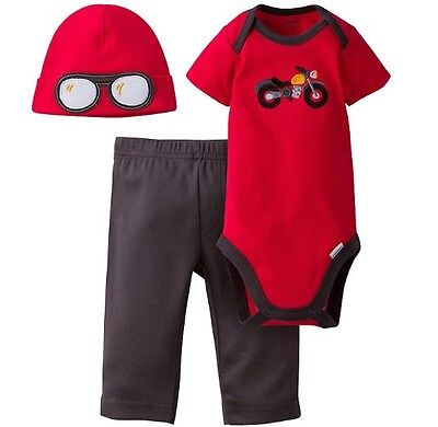 GERBER BABY BOY 3-Piece Set Onesie, Pants and Cap Baby Shower Gift Baby Clothes