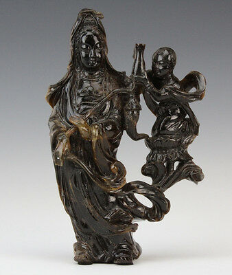 Chinese Carved Tigers Eye Quan Yin & Child Statue Lot 311