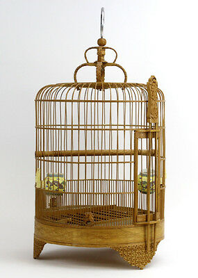Vintage Chinese Wood Bird Cage w Porcelain Feeders Lot 210