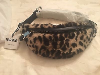 SS16 Moschino Couture Jeremy Scott Black Leopard Spots Print Faux Fur Fanny Pack