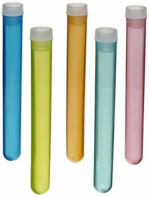 50 Piece Assorted Color Plastic Test Tube Set with Caps and Cardboard Rack