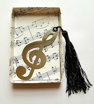 Music Note Silver Alloy Novelty Bookmark (Treble Clef Design) (Music Gift)