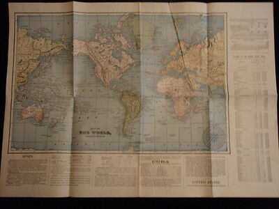 vintage mercantors projection map of the world and cuba