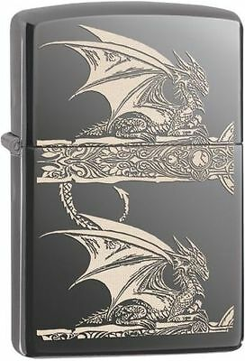 Zippo 28961, Anne Stokes-Dragon, Black Ice Lighter, ***6 Extra Flints/Wick***