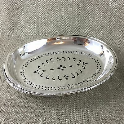 Antique Silver Plate Dish Serving Bowl Straining Sieve Vegetable Old Sheffield