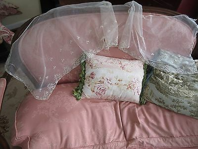 "Antique Brussels Applique on Net Lace Scarf Shawl Wedding Bridal Veil64""x15""Wide"