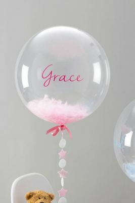 Personalised Feather Filled Clear Balloon Wedding Christening Party Baby Shower