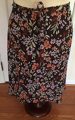 Womens Norton McNaughton A-Line Flared lined Skirt Size 14 summer Brown floral