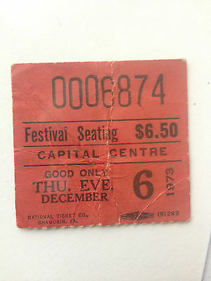 THE WHO , ticket stub, december 6, 1973 , 2nd ever concert Capital Centre , MD