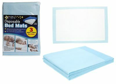3X Highly Absorbent Soft Comfy Disposable Bed Protector Mats Pads - 60cm x 90cm