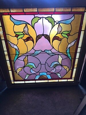 Sg 1234 Antique Stainglass Floral Window 36.75 X 39.5