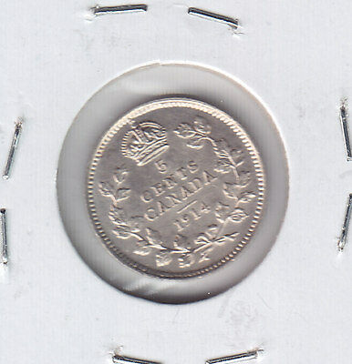 1914 Canada Five Cents Silver Coin - nice about uncirculated