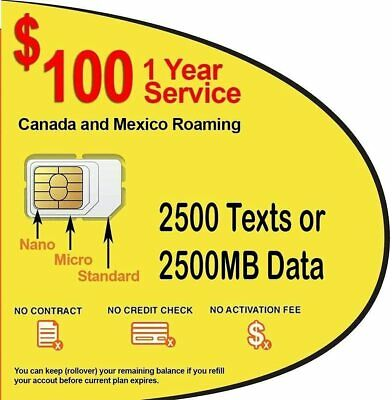 1 Year Prepaid GSM SIM Card Rollover 2500 Minutes Talk Text Data No Contract