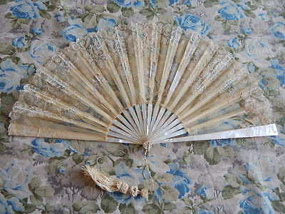 Antique Mother of Pearl Silk Hand Fan w Hand Painted Cherubs